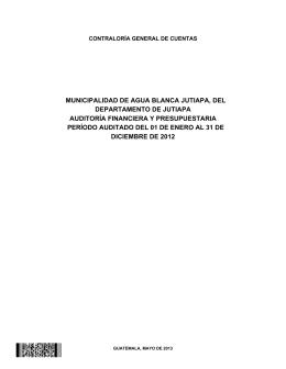 MUNICIPALIDAD DE AGUA BLANCA JUTIAPA, DEL