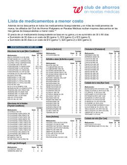 Lista de medicamentos a menor costo (cont.)