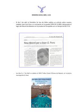 - El día 5 de abril el Periódico Sa Veu de Sóller publica un artículo