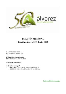 BOLETÍN MENSUAL Boletín número 139. Junio 2012