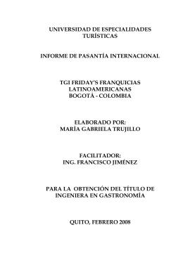 INFORME PASANTIA ITERNACIONAL TGI FRIDAYS FRANQUICIAS