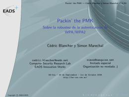 Packin` the PMK - Sobre la robustez de la autenticación de WPA