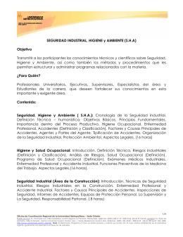 SEGURIDAD INDUSTRIAL, HIGIENE y AMBIENTE (S.H.A) Objetivo