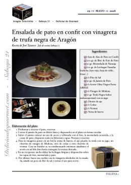 Ensalada de pato en confit con vinagreta de trufa negra de Aragón