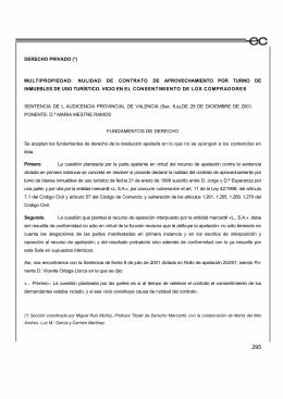 DERECHO PRIVADO (*) MULTIPROPIEDAD: NULIDAD DE