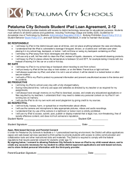 Petaluma City Schools Student iPad Loan Agreement, 2-12