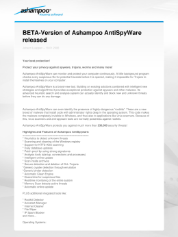 BETA-Version of Ashampoo AntiSpyWare released