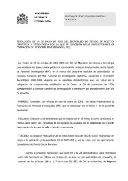 Resolución de 14 de mayo de 2003