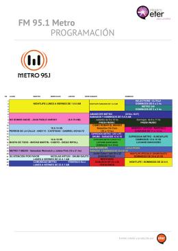 PROGRAMACIÓN FM 95.1 Metro