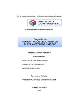 "Proyecto de ""EXPORTACIÓN DE JOYERIA DE PLATA A"