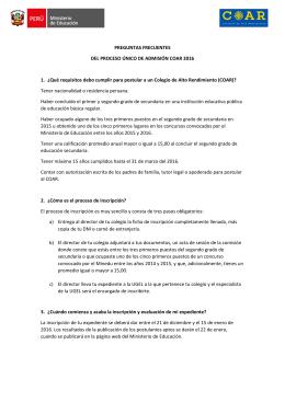Preguntas Frecuentes - Ministerio de Educación del Perú