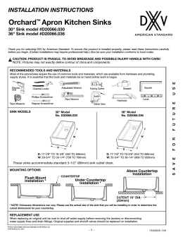 INSTALLATION INSTRUCTIONS Orchard™ Apron Kitchen Sinks