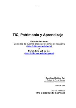 TIC, Patrimonio y Aprendizaje