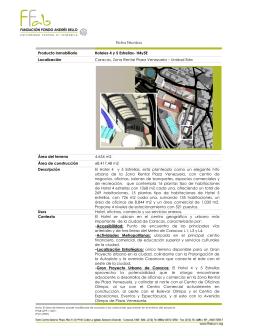 Ficha Técnica Producto inmobiliario Hoteles 4 y 5 Estrellas
