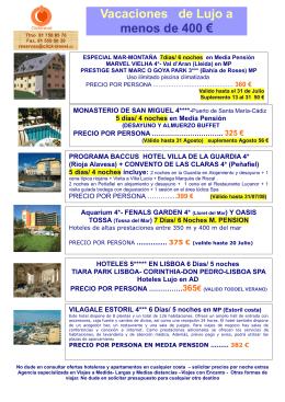 Escapadas y Vacaciones a menos de 400 euros