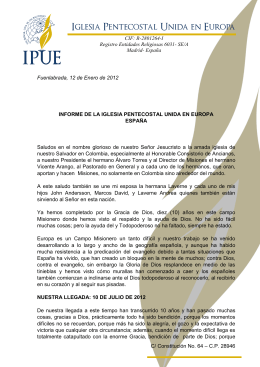 INFORME ESPANA - Iglesia Pentecostal Unida de Colombia