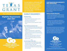 Texas Grant Eligibility Requirements