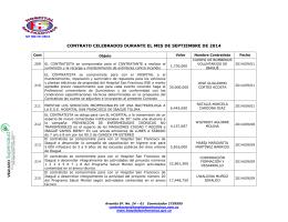 contrato celebrados durante el mes de abril de 2010