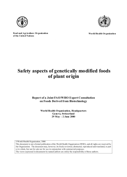 Safety aspects of genetically modified foods of plant origin