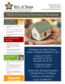 FREE Foreclosure Prevention Workshop