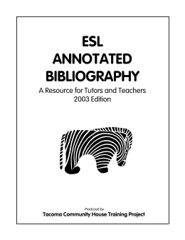 ESL ANNOTATED BIBLIOGRAPHY