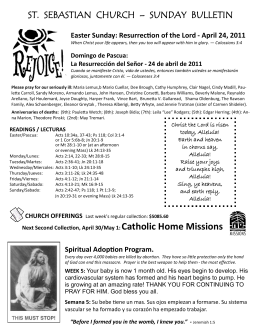 ST. SEBASTIAN CHURCH – SUNDAY BULLETIN