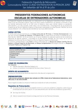 Federación Española de Baloncesto Convocatoria XXXIV CURSO