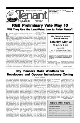 RGB Preliminary Vote May 10 - Metropolitan Council on Housing