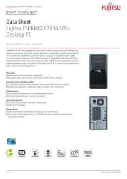 Data Sheet Fujitsu ESPRIMO P7936 E85+ Desktop PC