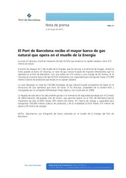 Nota de prensa El Port de Barcelona recibe el mayor barco de gas