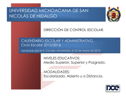Calendario Escolar 2015-2016 - Universidad Michoacana de San