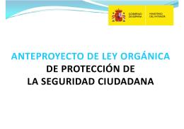 ANTEPROYECTO DE LEY ORGÁNICA DE