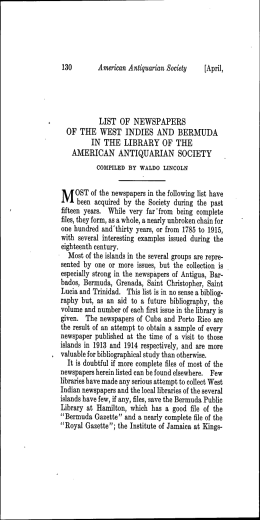 list of newspapers of the west indies and bermuda in the library of
