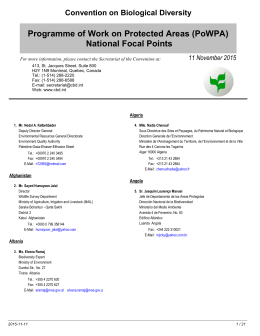 National Focal Points - Convention on Biological Diversity