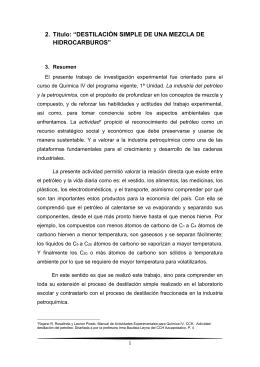 DESTILACIÓN SIMPLE DE UNA MEZCLA DE HIDROCARBUROS