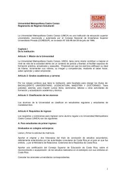 Reglamento Estudiantil - Universidad Metropolitana Castro Carazo