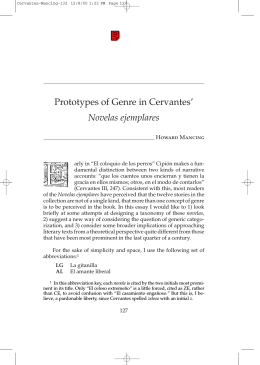Prototypes of Genre in Cervantes` Novelas ejemplares - H-Net
