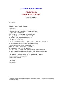 DOCUMENTO DE MALINAS – 4 RENOVACIÓN Y