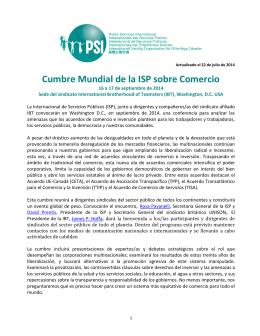 Cumbre Mundial de la ISP sobre Comercio