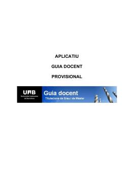 aplicatiu guia docent provisional - Universitat Autònoma de Barcelona
