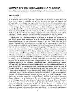 Biomas y Tipos de Vegetación de la Argentina