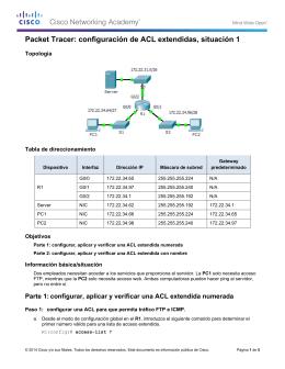 Packet Tracer: configuración de ACL extendidas, situación 1