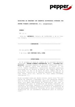 ESCRITURA DE PRESTAMO CON GARANTIA HIPOTECARIA