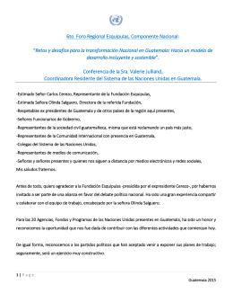 """6to. Foro Regional Esquipulas, Componente Nacional: """"Retos y"""