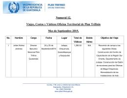 Cuadro de viajes, costos y viáticos Septiembre 2015.