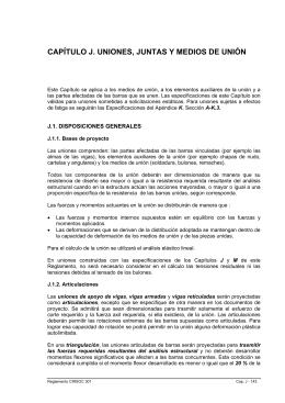 CAPÍTULO J. UNIONES, JUNTAS Y MEDIOS DE UNIÓN