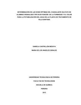 determinación de las dosis óptimas del coagulante sulfato de