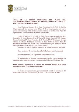 Pleno del día 27 - Ayuntamiento de Cuéllar