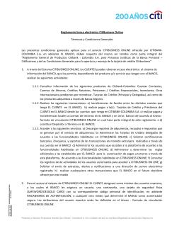 Reglamento banca electrónica CitiBusiness Online