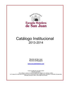 Catálogo Institucional - Escuela Hotelera de San Juan